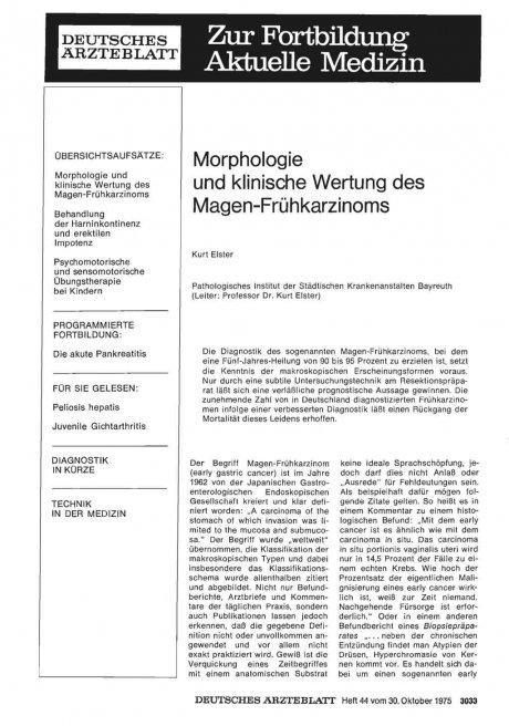Morphologie und klinische Wertung des Magen-Frühkarzinoms