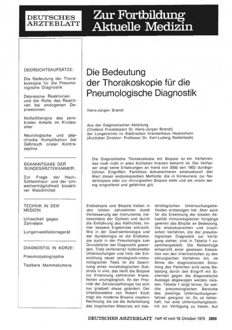 Die Bedeutung der Thorakoskopie für die Pneumologische Diagnostik