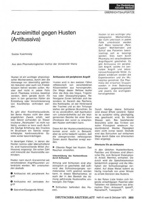 Arzneimittel gegen Husten (Antitussiva)
