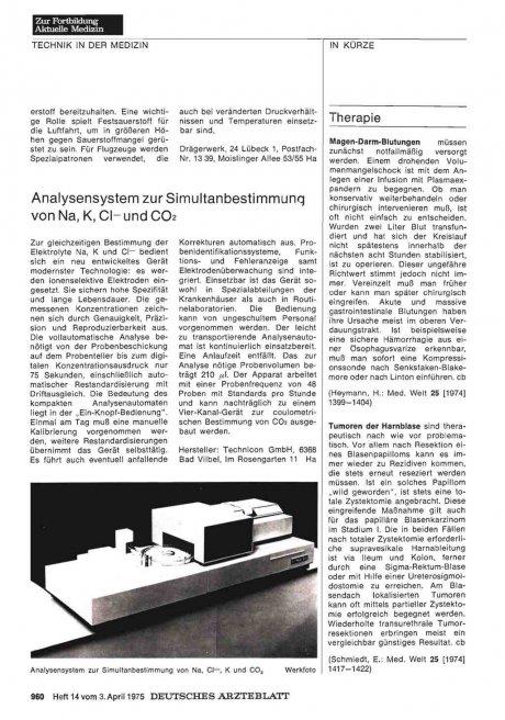 Analysensystem zur Simultanbestimmung von Na, K, Cl— und CO2