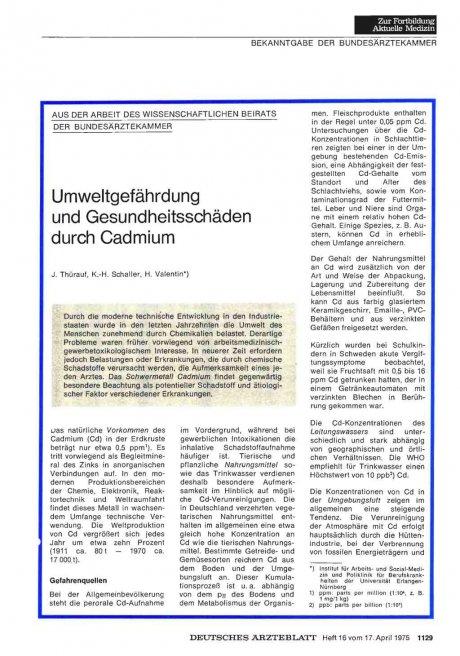 Umweltgefährdung und Gesundheitsschäden durch Cadmium