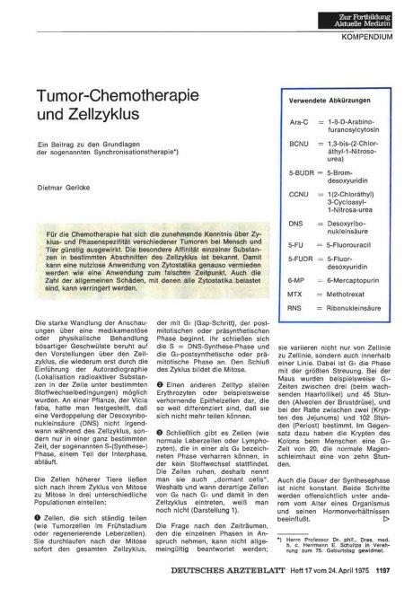 Tumor-Chemotherapie und Zellzyklus