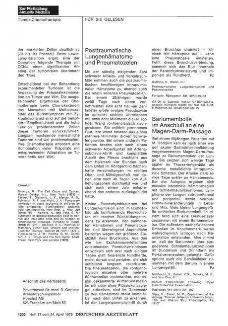 Posttraumatische Lungenhämatome und Pneumatozelen
