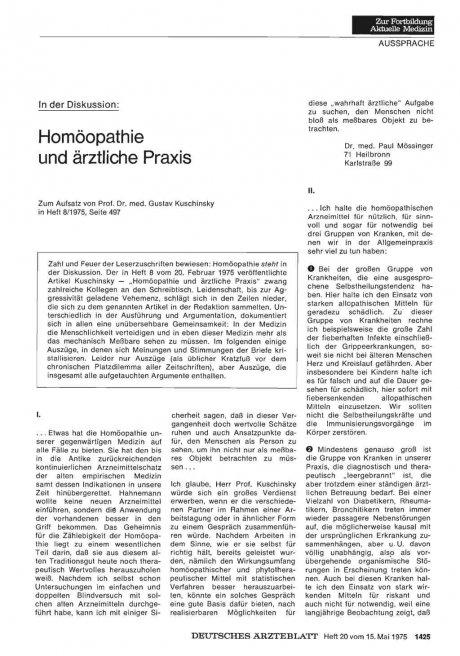In der Diskussion: Homöopathie und ärztliche Praxis