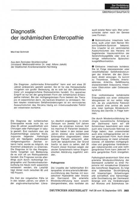 Diagnostik der ischämischen Enteropathie