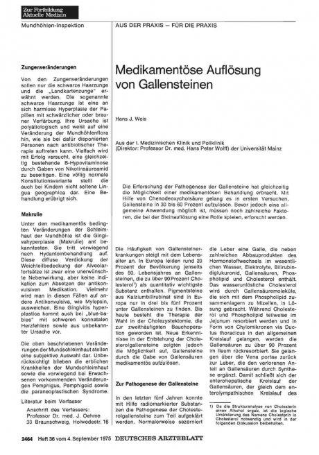 Medikamentöse Auflösung von Gallensteinen