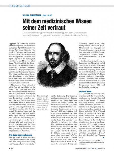 William Shakespeare (1564–1616): Mit dem medizinischen Wissen seiner Zeit vertraut