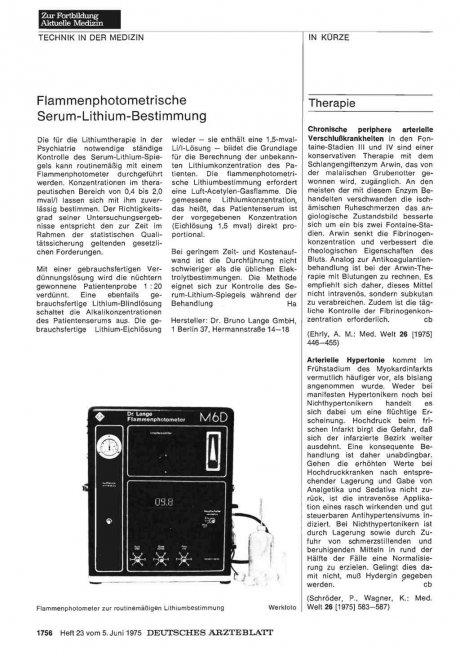 Flammenphotometrische Serum-Lithium-Bestimmung
