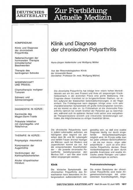 Klinik und Diagnose der chronischen Polyarthritis