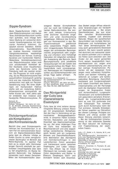 Das Röntgenbild der Cutis laxa (Generalisierte Elastolysis