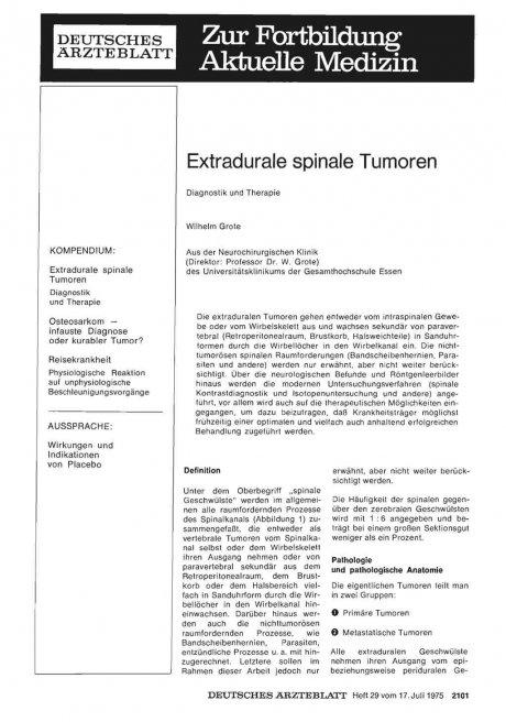 Extradurale spinale Tumoren