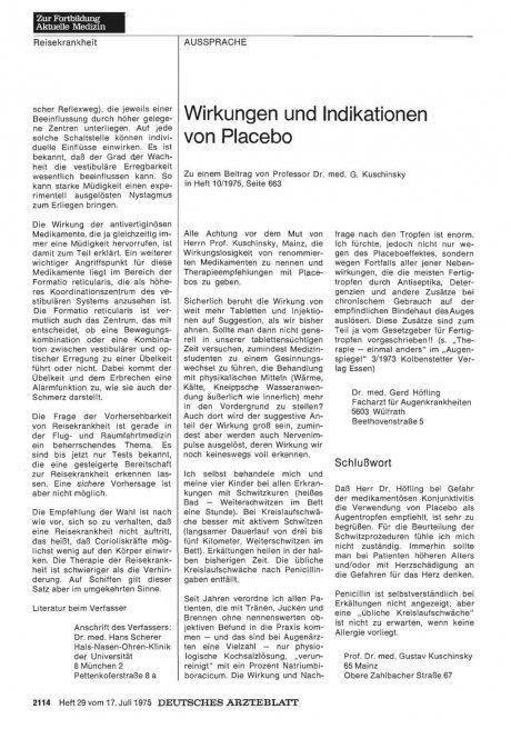 Wirkungen und Indikationen von Placebo: I.