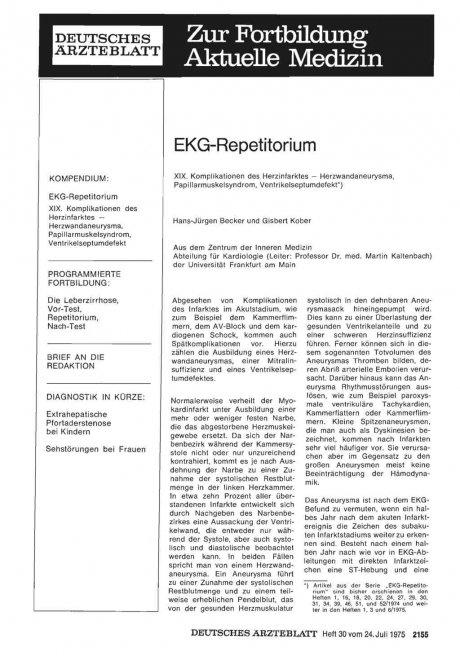 EKG-Repetitorium: XIX. Komplikationen des Herzinfarktes — Herzwandaneurysma, Papillarmuskelsyndrom, Ventrikelseptumdefekt