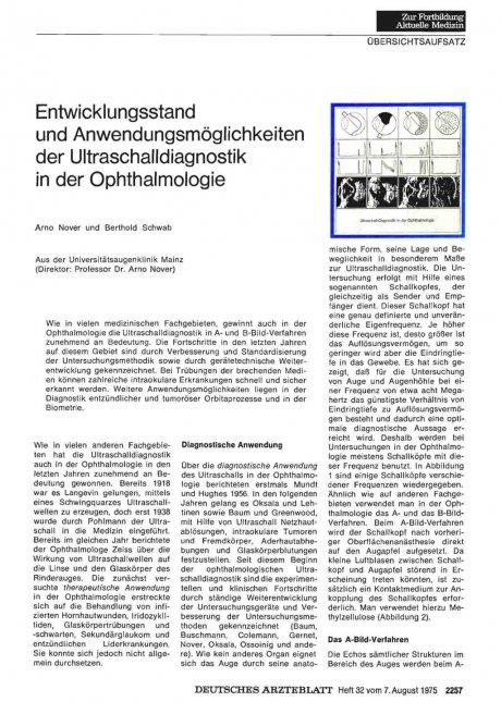 Entwicklungsstand und Anwendungsmöglichkeiten der Ultraschalldiagnostik in der Ophthalmologie