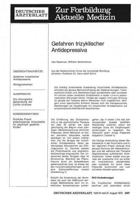 Gefahren trizyklischer Antidepressiva