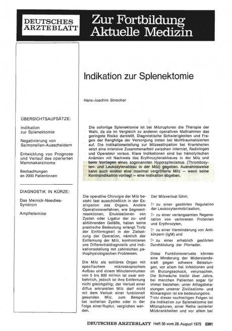 Indikation zur Splenektomie