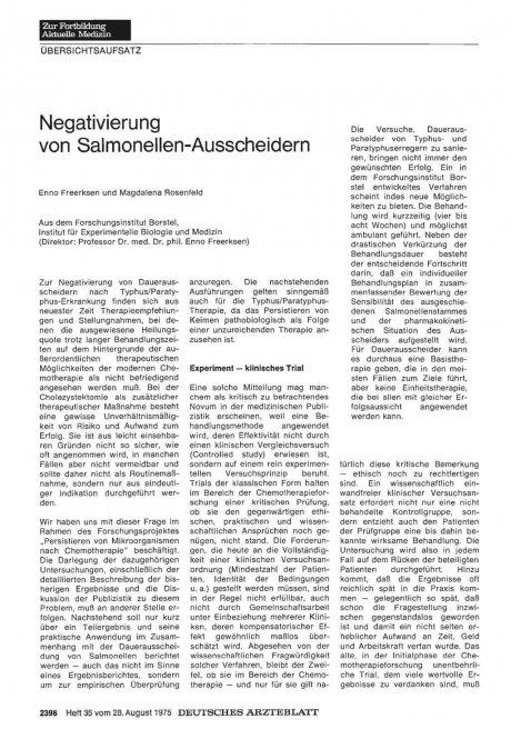 Negativierung von Salmonellen-Ausscheidern