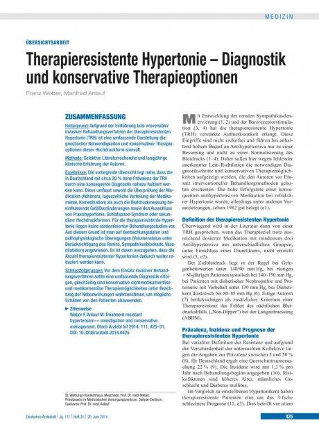 Therapieresistente Hypertonie – Diagnostik und konservative Therapieoptionen