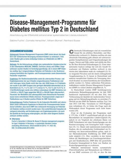 Disease-Management-Programme für Diabetes mellitus Typ 2 in Deutschland