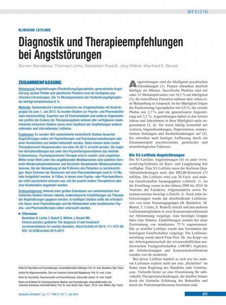 Diagnostik und Therapieempfehlungen bei Angststörungen
