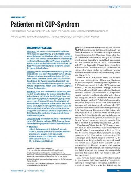 Patienten mit CUP-Syndrom