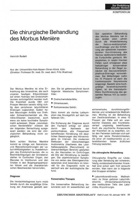 Die chirurgische Behandlung des Morbus Meniere