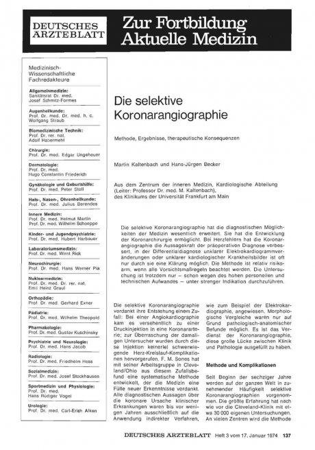 Die selektive Koronarangiographie: Methode, Ergebnisse, therapeutische Konsequenzen