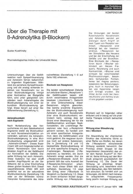 Über die Therapie mit ß-Adrenolytika (ß-Blockern)