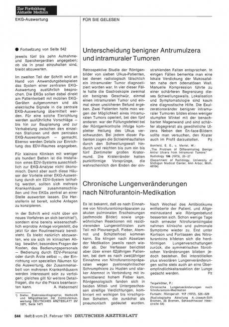Chronische Lungenveränderungen nach Nitrofurantoin-Medikation