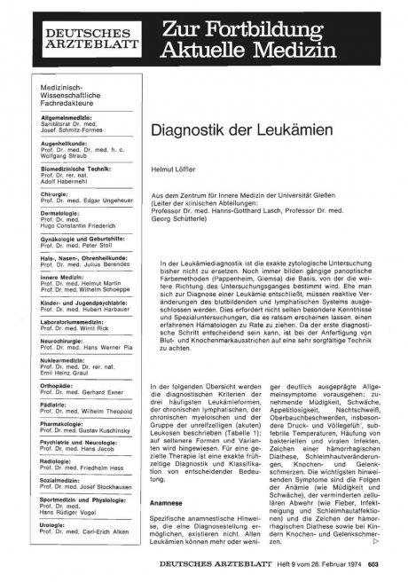 Diagnostik der Leukämien