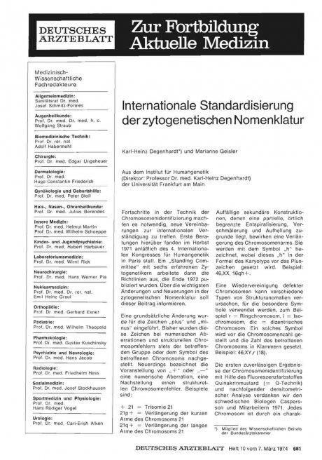 Internationale Standardisierung der zytogenetischen Nomenklatur