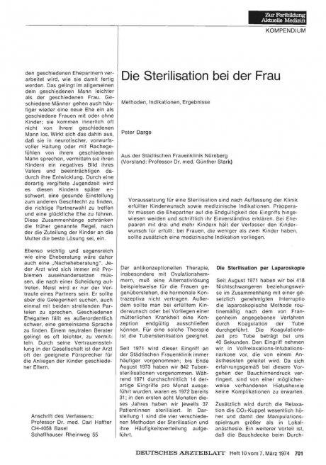 Die Sterilisation bei der Frau