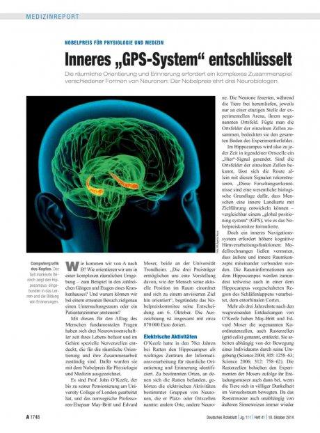 """Nobelpreis für Physiologie und Medizin: Inneres """"GPS-System"""" entschlüsselt"""