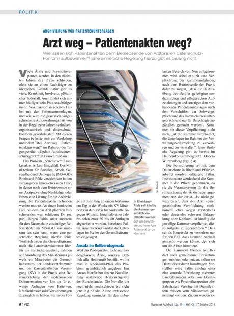 Archivierung von Patientenunterlagen: Arzt weg – Patientenakten weg?