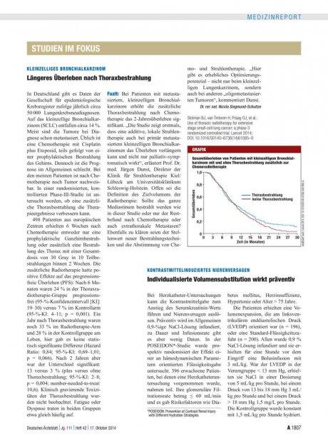 Kleinzelliges Bronchialkarzinom: Längeres Überleben nach Thoraxbestrahlung