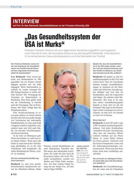 """Interview mit Prof. Dr. Uwe Reinhardt, Gesundheitsökonom an der Princeton University, USA: """"Das Gesundheitssystem der USA ist Murks"""""""