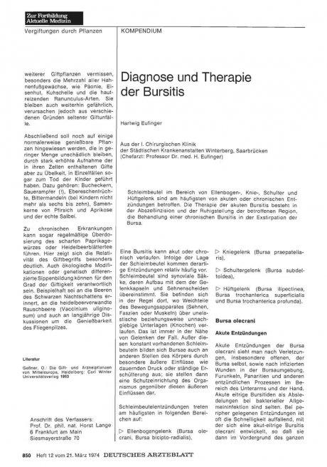 Diagnose und Therapie der Bursitis