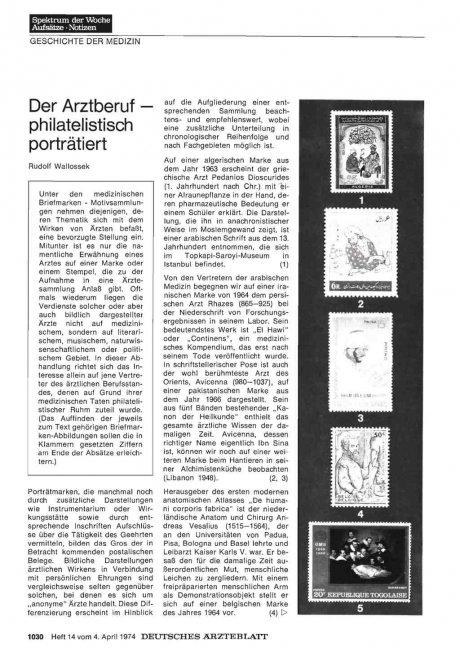 Der Arztberuf — philatelistisch porträtiert