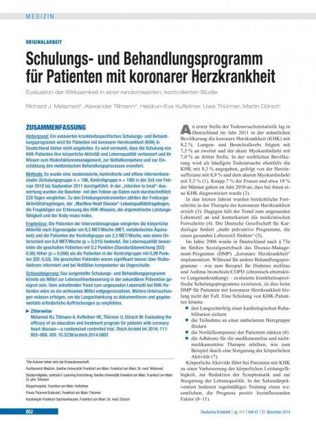 Schulungs- und Behandlungsprogramm für Patienten mit koronarer Herzkrankheit