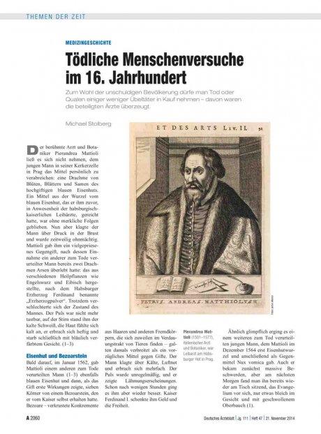 Medizingeschichte: Tödliche Menschenversuche im 16. Jahrhundert