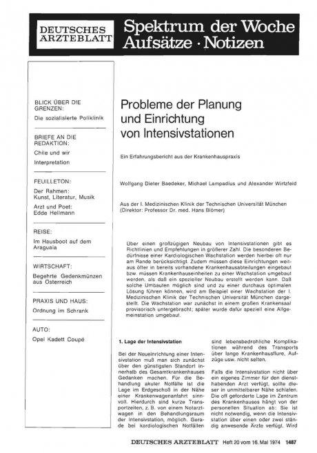 Probleme der Planung und Einrichtung von Intensivstationen