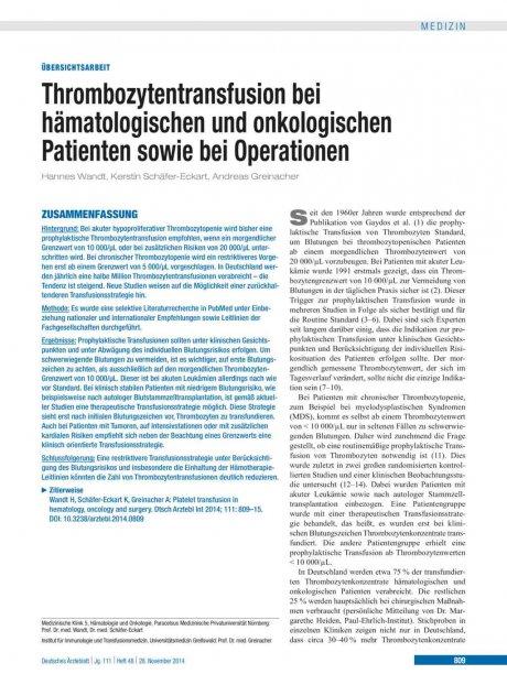 Thrombozytentransfusion bei hämatologischen und onkologischen Patienten sowie bei Operationen