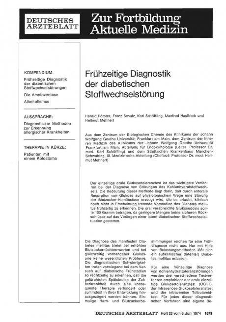 Frühzeitige Diagnostik der diabetischen Stoffwechselstörung