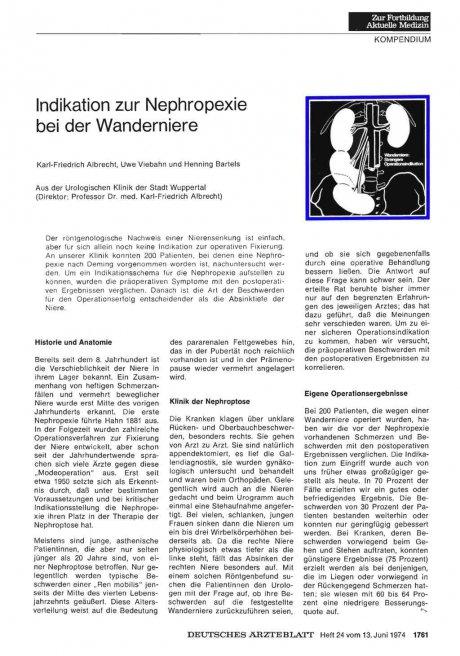 Indikation zur Nephropexie bei der Wanderniere