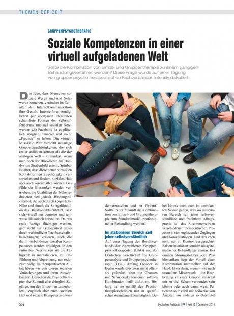 Gruppenpsychotherapie: Soziale Kompetenzen in einer virtuell aufgeladenen Welt