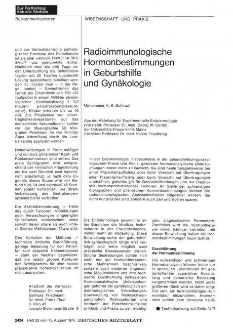 Radioimmunologische Hormonbestimmungen in Geburtshilfe und Gynäkologie