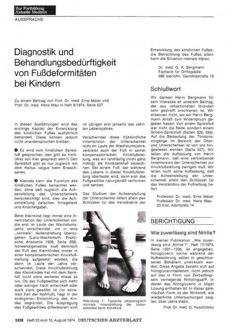 Diagnostik und Behandlungsbedürftigkeit von Fußdeformitäten bei Kindern