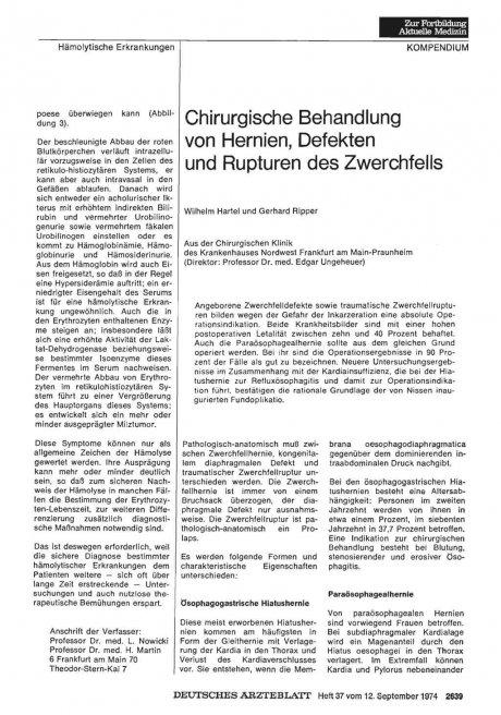 Chirurgische Behandlung von Hernien, Defekten und Rupturen des Zwerchfells