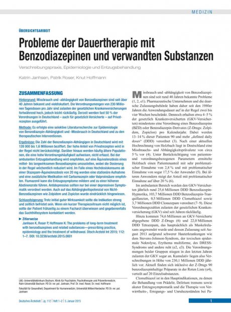 Probleme der Dauertherapie mit Benzodiazepinen und verwandten Substanzen