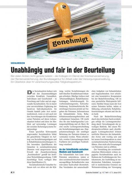 Sozialmedizin: Unabhängig und fair in der Beurteilung